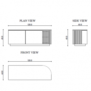 Curved TV Cabinet Technical Drawing